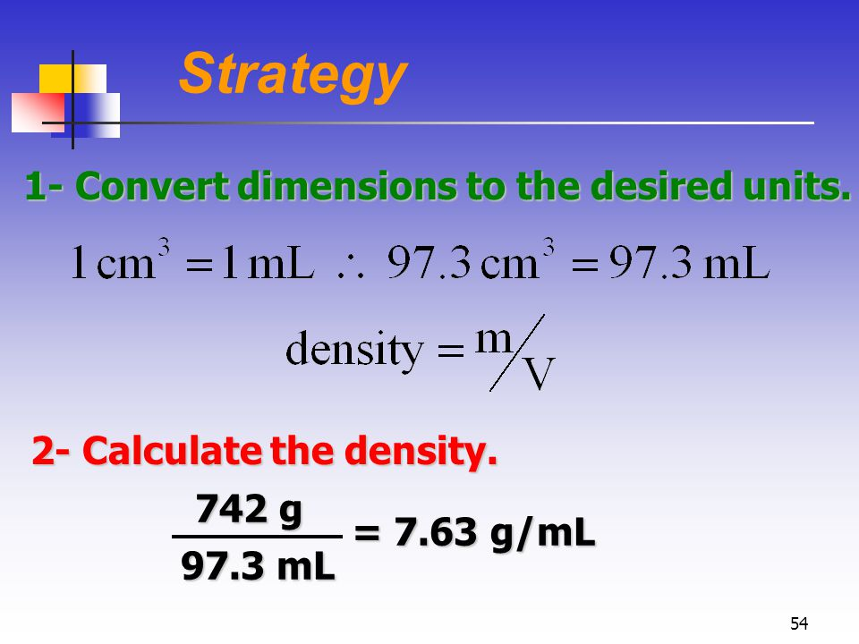 54 Strategy 1- Convert dimensions to the desired units.