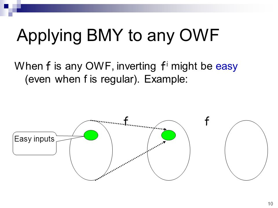 10 Applying BMY to any OWF When f is any OWF, inverting f i might be easy (even when f is regular).
