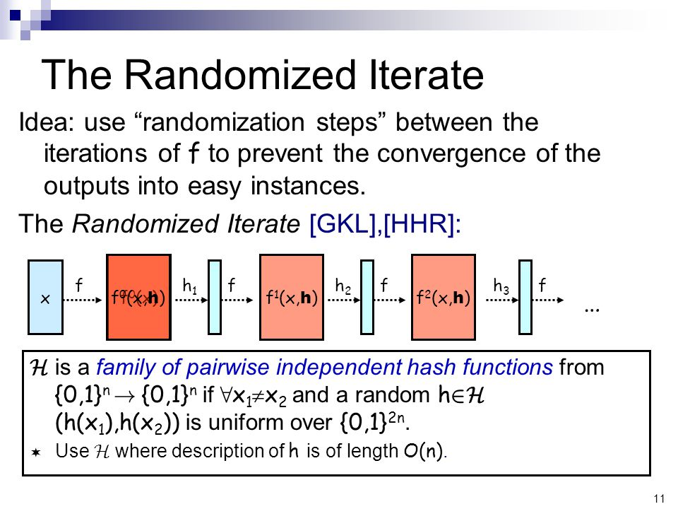 11 f 0 (x) f 0 (x, h ) Idea: use randomization steps between the iterations of f to prevent the convergence of the outputs into easy instances.