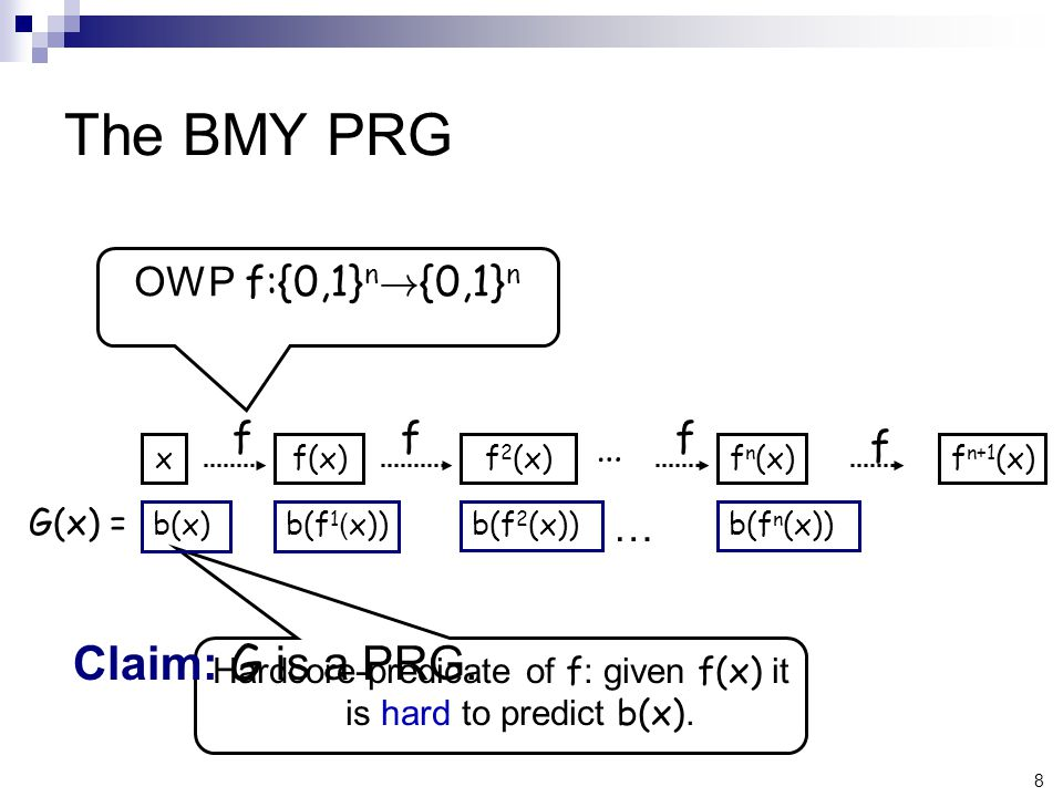 8 The BMY PRG G(x) = Hardcore-predicate of f : given f(x) it is hard to predict b(x).