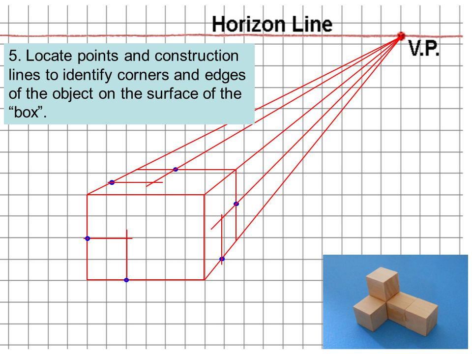 """5. Locate points and construction lines to identify corners and edges of the object on the surface of the """"box""""."""