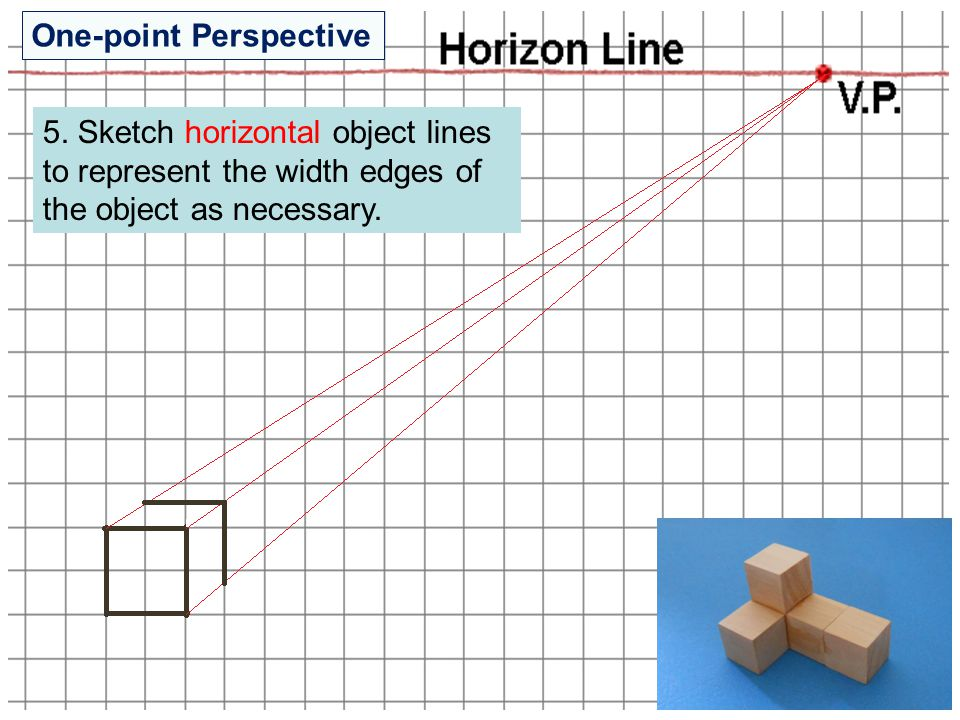 5. Sketch horizontal object lines to represent the width edges of the object as necessary. One-point Perspective