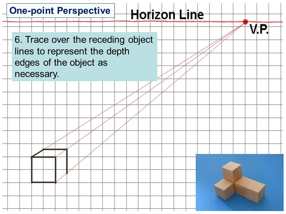 6. Trace over the receding object lines to represent the depth edges of the object as necessary. One-point Perspective
