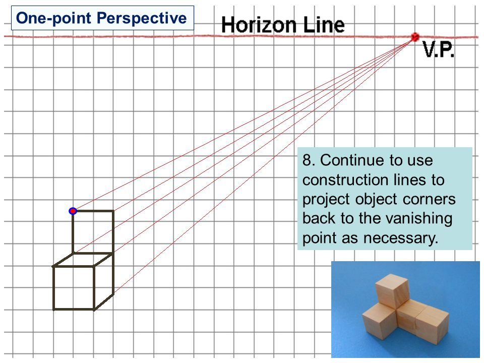 8. Continue to use construction lines to project object corners back to the vanishing point as necessary. One-point Perspective