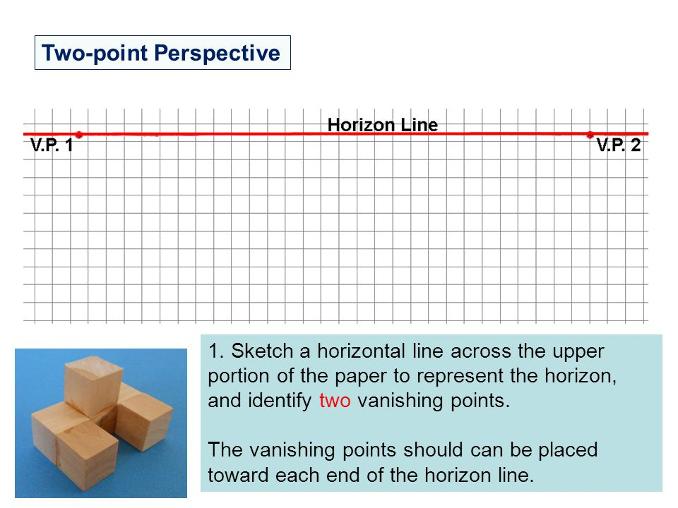 Two-point Perspective 1. Sketch a horizontal line across the upper portion of the paper to represent the horizon, and identify two vanishing points. T