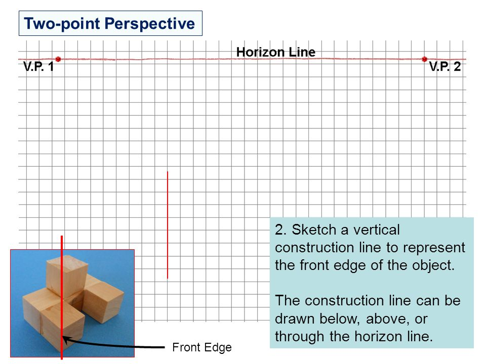 Two-point Perspective 2. Sketch a vertical construction line to represent the front edge of the object. The construction line can be drawn below, abov
