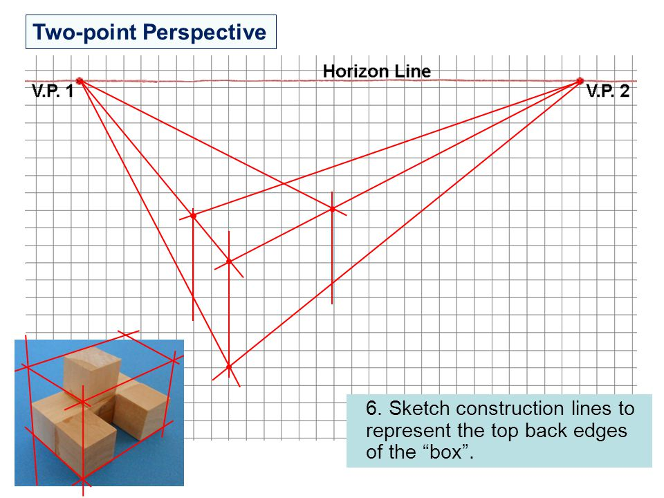 """Two-point Perspective 6. Sketch construction lines to represent the top back edges of the """"box""""."""