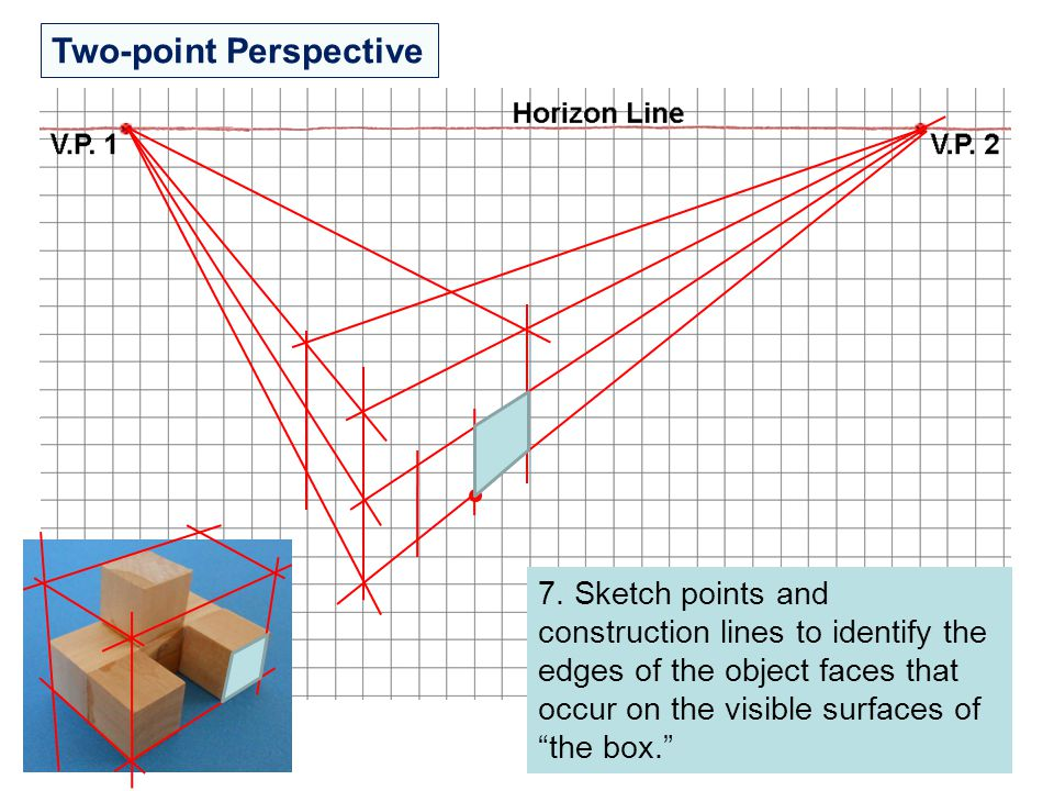 """Two-point Perspective 7. Sketch points and construction lines to identify the edges of the object faces that occur on the visible surfaces of """"the box"""