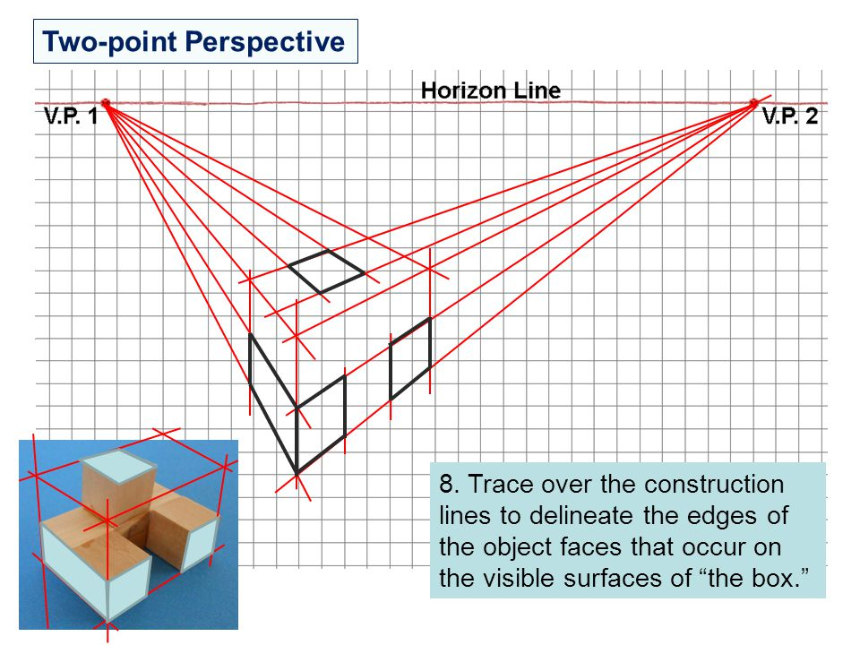 """Two-point Perspective 8. Trace over the construction lines to delineate the edges of the object faces that occur on the visible surfaces of """"the box."""""""