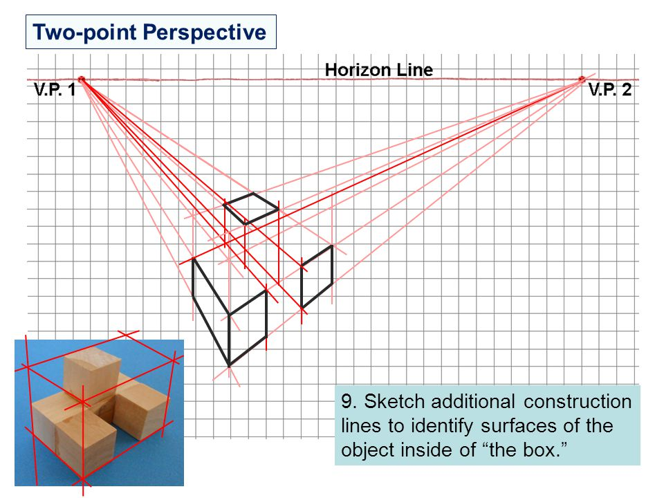 """Two-point Perspective 9. Sketch additional construction lines to identify surfaces of the object inside of """"the box."""""""