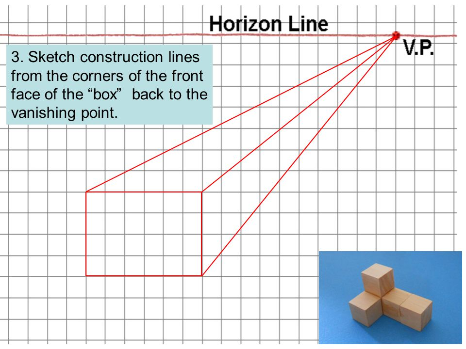 """3. Sketch construction lines from the corners of the front face of the """"box"""" back to the vanishing point."""
