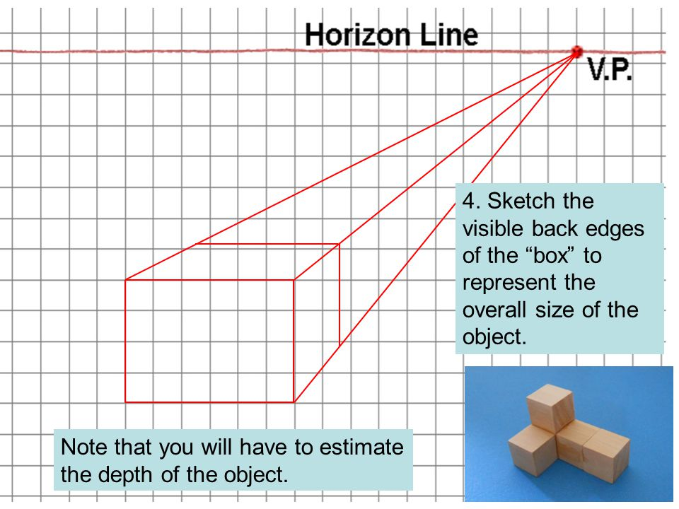 """Note that you will have to estimate the depth of the object. 4. Sketch the visible back edges of the """"box"""" to represent the overall size of the object"""