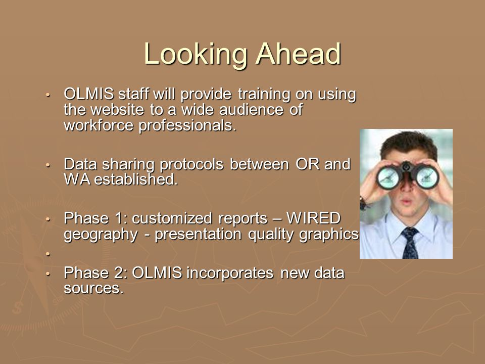 Looking Ahead OLMIS staff will provide training on using the website to a wide audience of workforce professionals. OLMIS staff will provide training