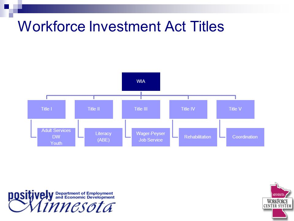Workforce Investment Act Titles WIA Title I Adult Services DW Youth Title II Literacy (ABE) Title III Wager-Peyser Job Service Title IV Rehabilitation Title V Coordination