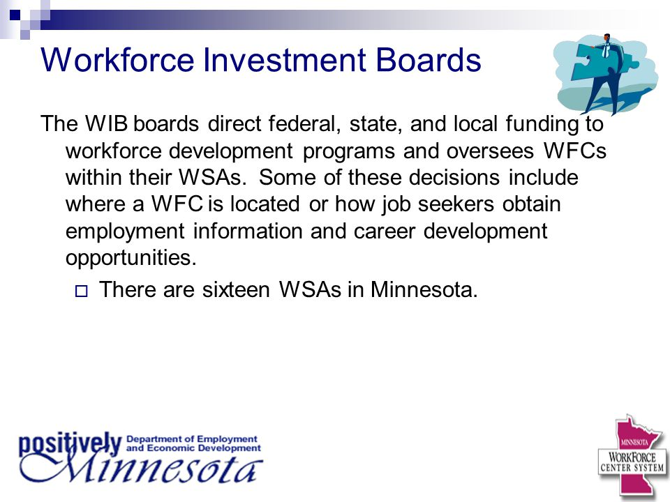 Workforce Investment Boards The WIB boards direct federal, state, and local funding to workforce development programs and oversees WFCs within their WSAs.