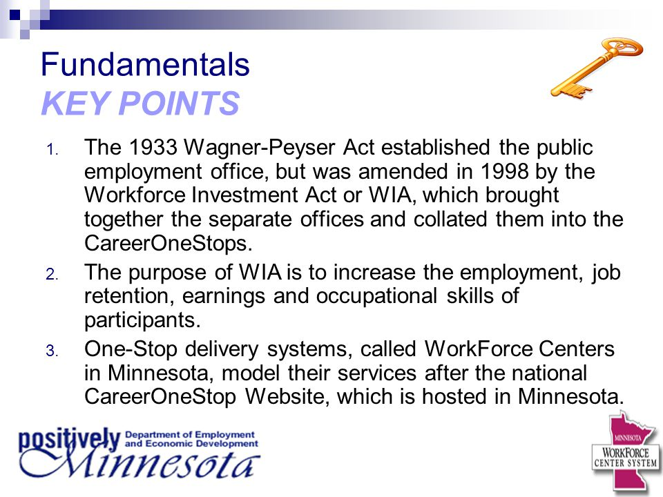 Fundamentals KEY POINTS 1. The 1933 Wagner-Peyser Act established the public employment office, but was amended in 1998 by the Workforce Investment Ac