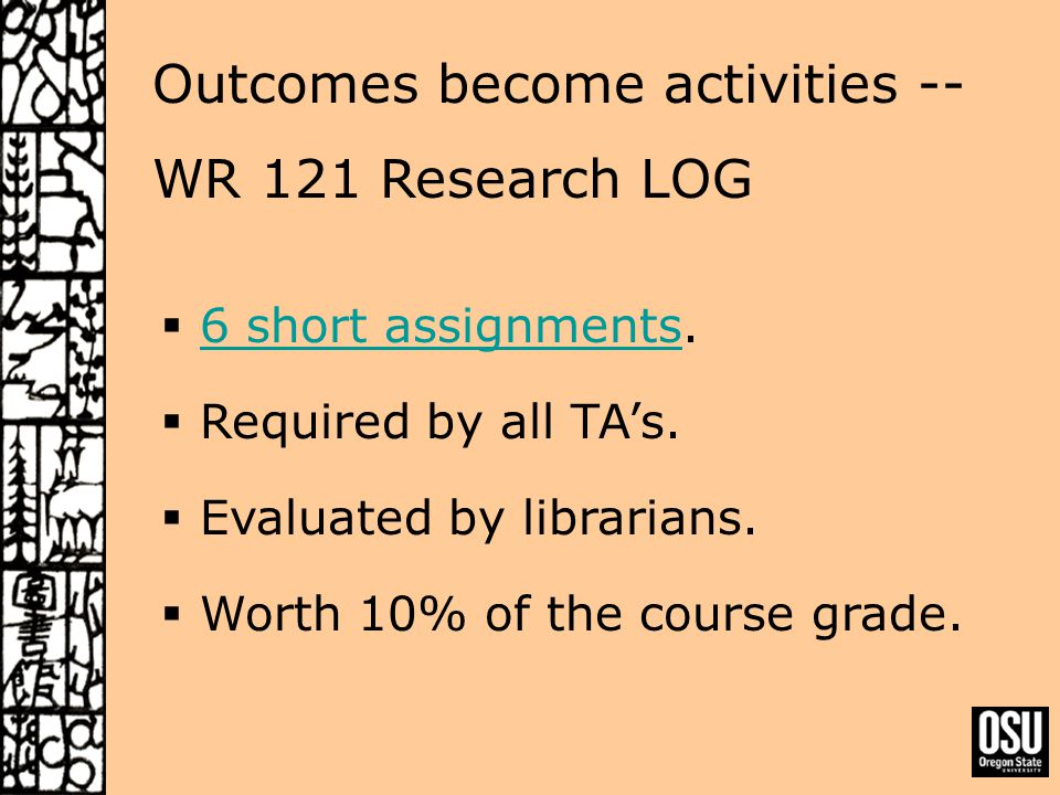 Outcomes become activities -- WR 121 Research LOG  6 short assignments.6 short assignments  Required by all TA's.