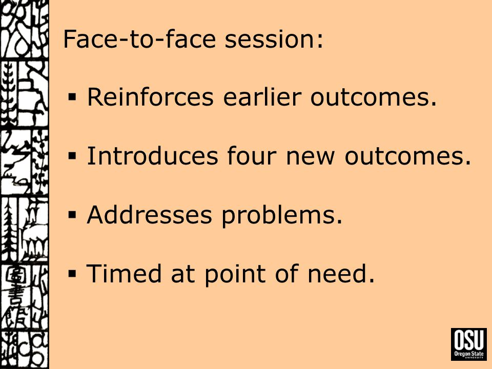 Face-to-face session:  Reinforces earlier outcomes.