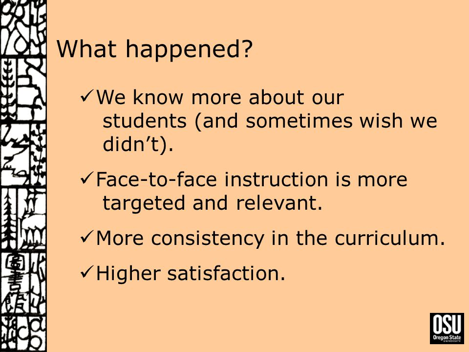 What happened. We know more about our students (and sometimes wish we didn't).