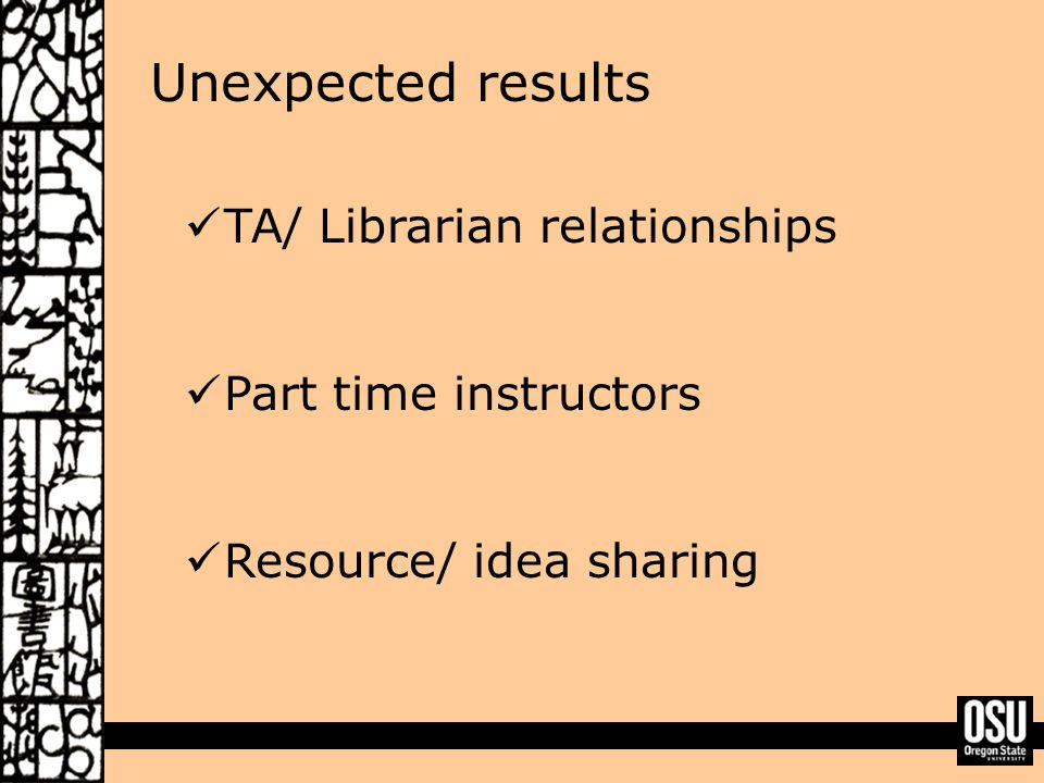 Unexpected results TA/ Librarian relationships Part time instructors Resource/ idea sharing