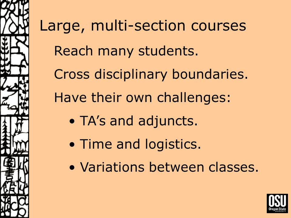 Large, multi-section courses Reach many students. Cross disciplinary boundaries.