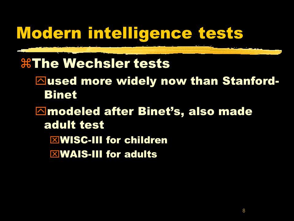 9 Standardized scoring of Wechsler tests zAll raw scores converted to standardized scores zNormal distribution zMean of 100 zStandard deviation of 15 50 70 85 100 115 130 145 2.14% 13.59%34.13% 13.59%2.14% 0.13% 95.44% 68.26% Wechsler IQ score Number of score