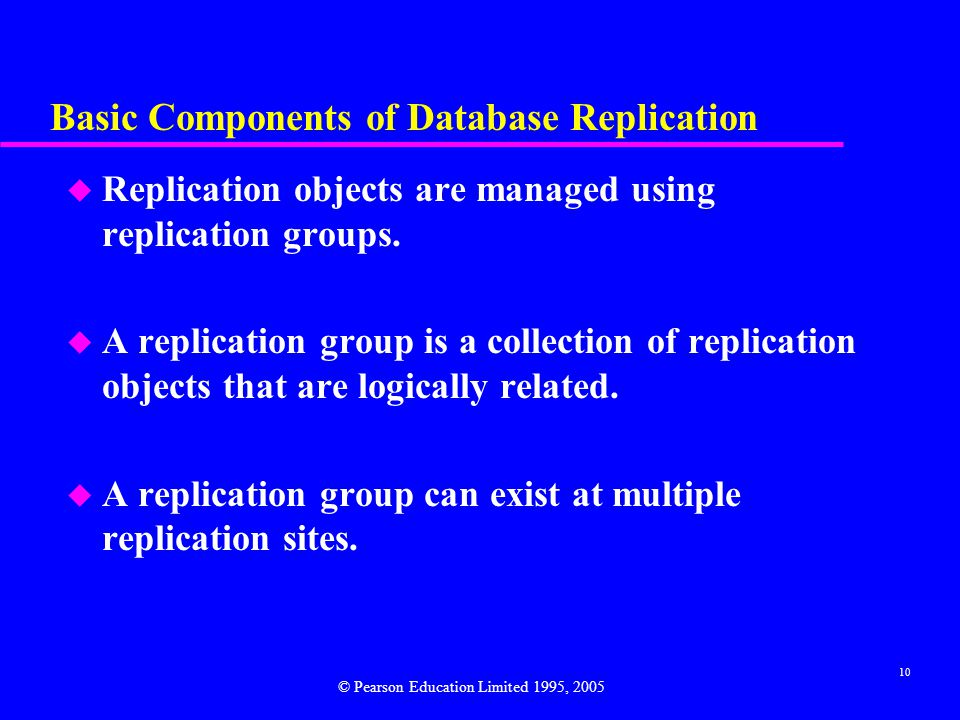 10 Basic Components of Database Replication u Replication objects are managed using replication groups.