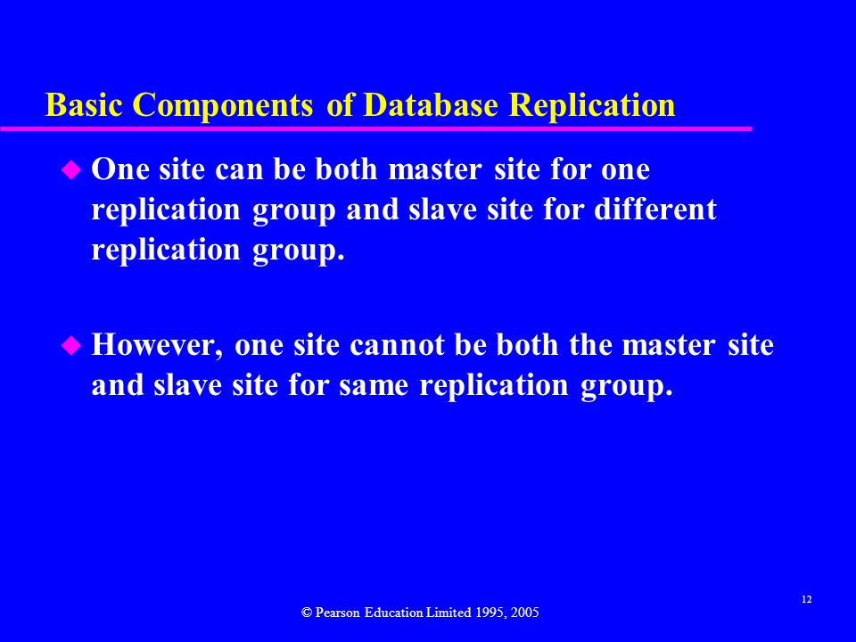 12 Basic Components of Database Replication u One site can be both master site for one replication group and slave site for different replication group.