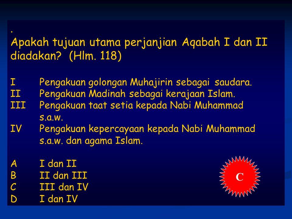 Apakah tujuan utama perjanjian Aqabah I dan II diadakan.