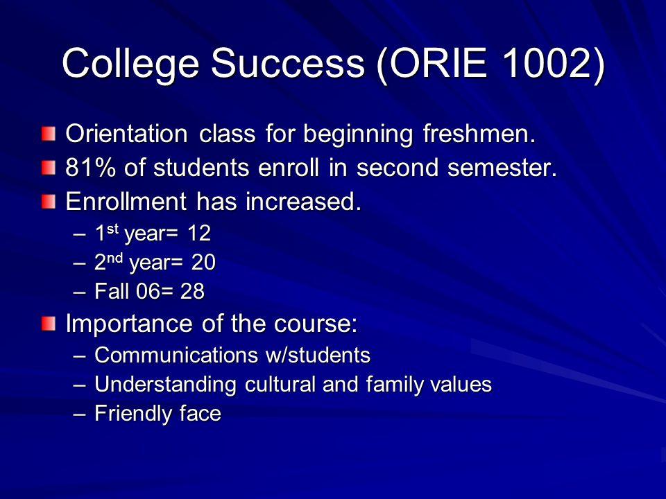 College Success (ORIE 1002) Orientation class for beginning freshmen.