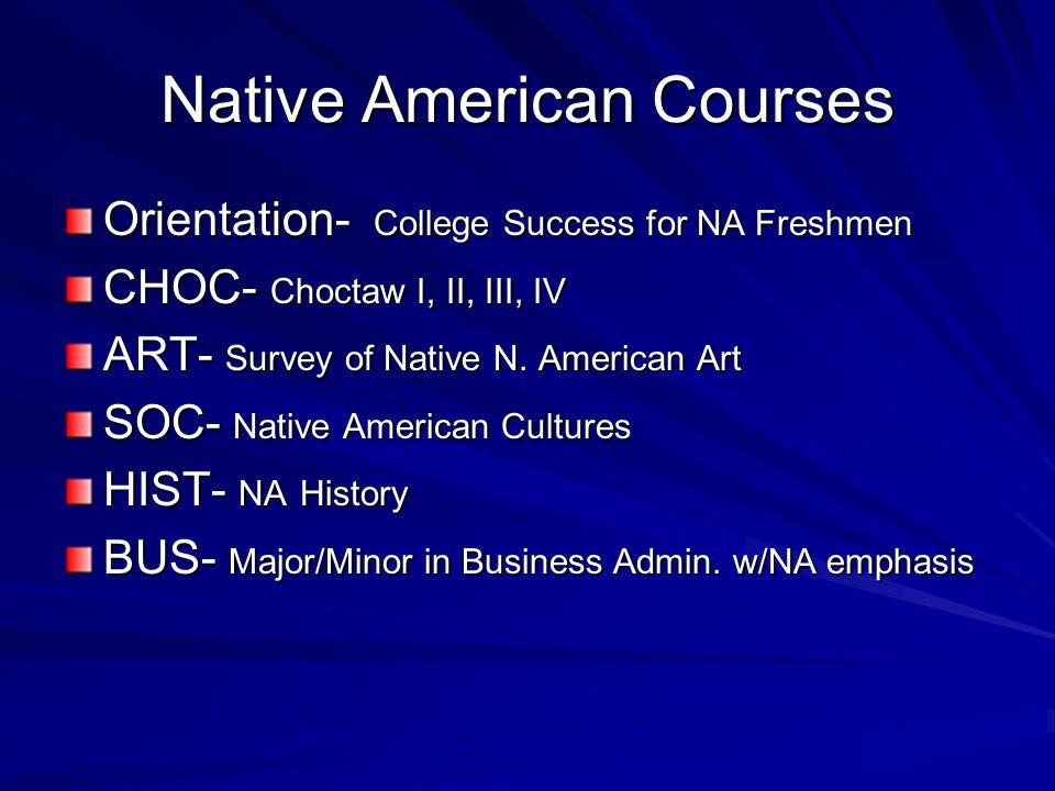Native American Courses Orientation- College Success for NA Freshmen CHOC- Choctaw I, II, III, IV ART- Survey of Native N.