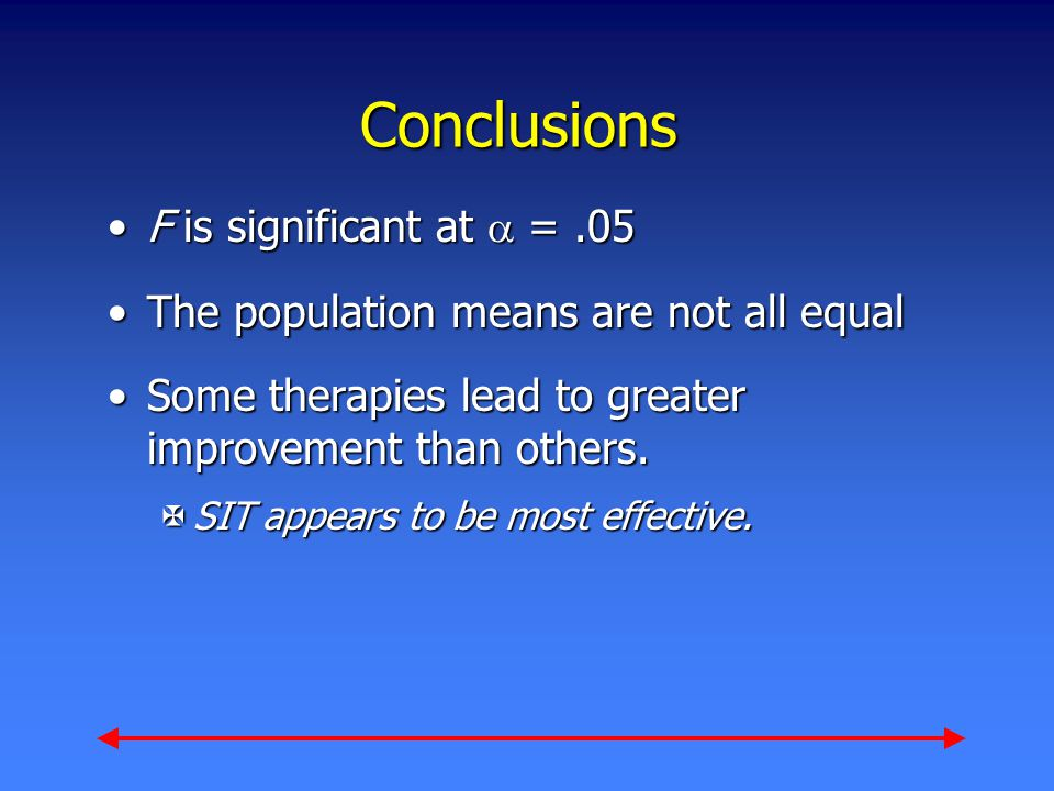 Conclusions F is significant at  =.05F is significant at  =.05 The population means are not all equalThe population means are not all equal Some therapies lead to greater improvement than others.Some therapies lead to greater improvement than others.