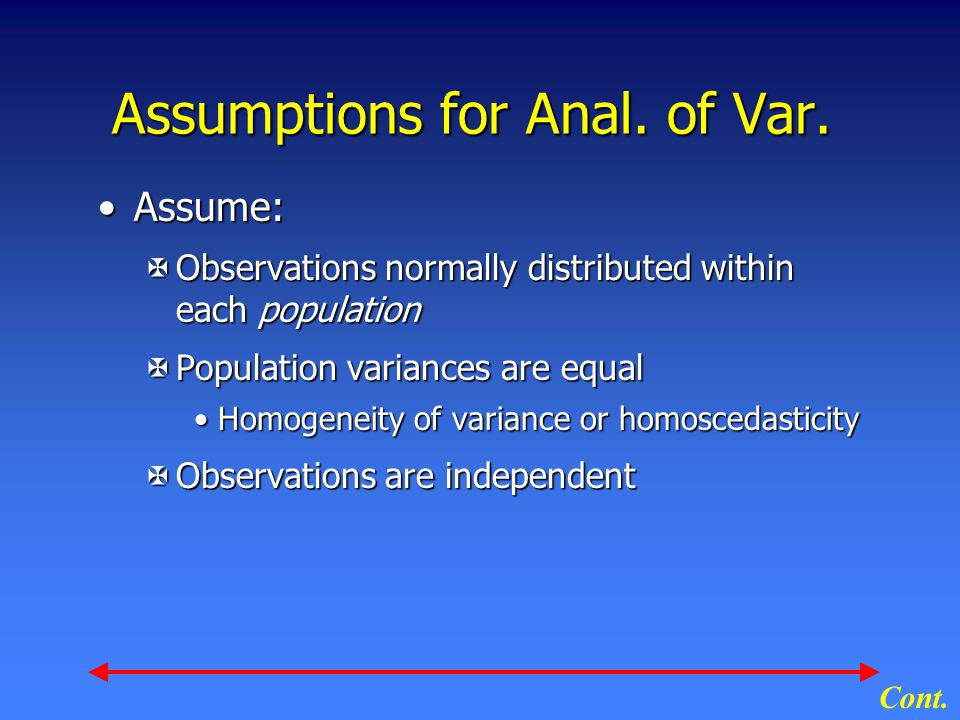 Assumptions for Anal. of Var.