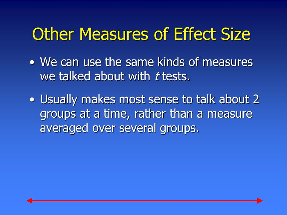 Other Measures of Effect Size We can use the same kinds of measures we talked about with t tests.We can use the same kinds of measures we talked about with t tests.