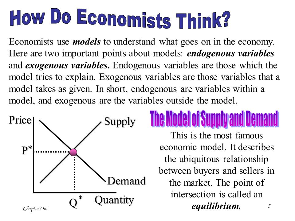 5 Chapter One Economists use models to understand what goes on in the economy. Here are two important points about models: endogenous variables and ex