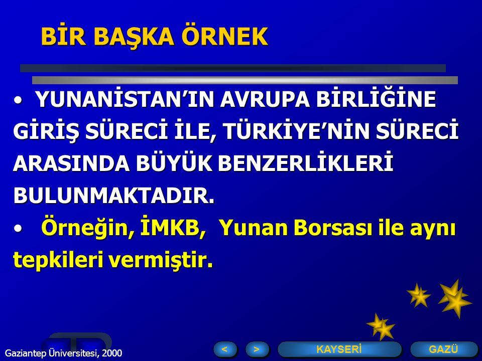 GAZÜ KAYSERİ > > < < Gaziantep Üniversitesi, 2000 7 EVET....