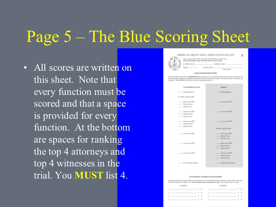 Page 5 – The Blue Scoring Sheet All scores are written on this sheet.