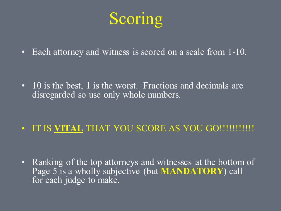 Scoring Each attorney and witness is scored on a scale from 1-10.