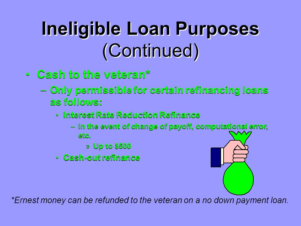 Ineligible Loan Purposes (Continued) Purchase of more than one separate residential unit or lot unless the veteran will occupy one unit and there is evidence that the residential units: –are unavailable separately, –have a common owner, –have been treated as one unit in the past, –assessed as one unit, or –partition is not practical.