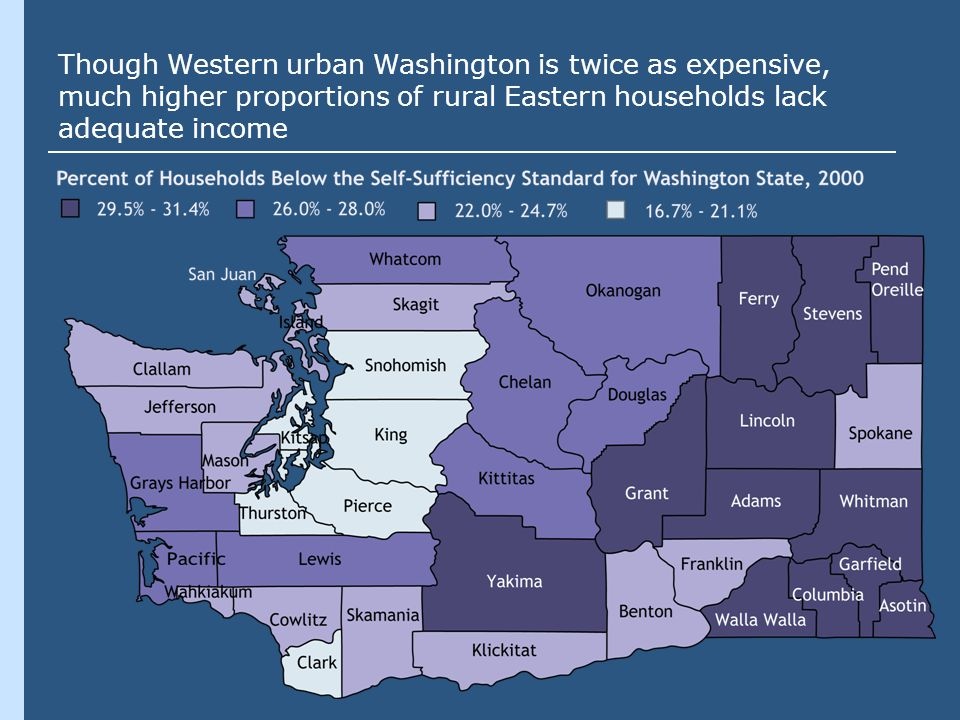 Though Western urban Washington is twice as expensive, much higher proportions of rural Eastern households lack adequate income