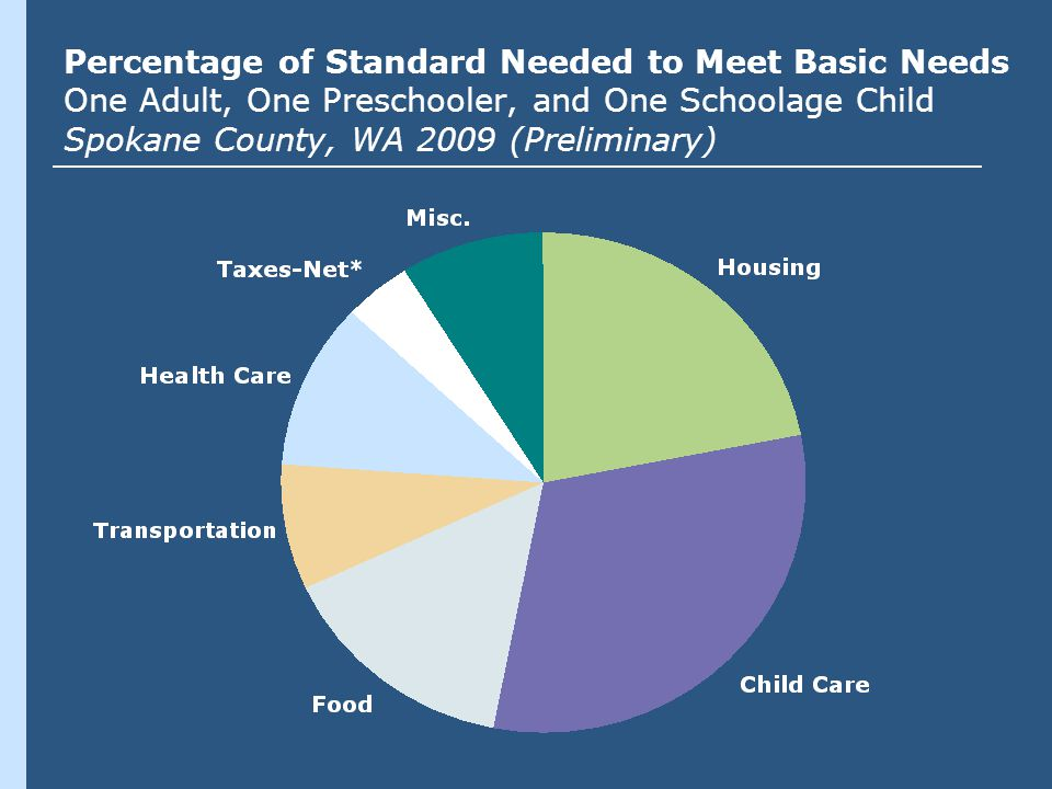 Percentage of Standard Needed to Meet Basic Needs One Adult, One Preschooler, and One Schoolage Child Spokane County, WA 2009 (Preliminary)