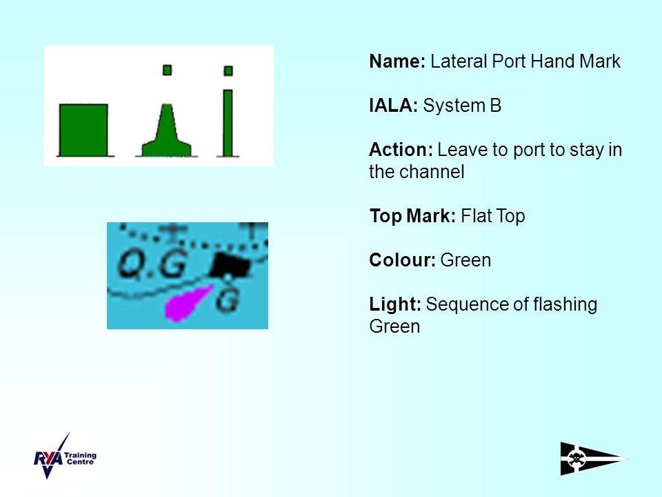 Name: Lateral Port Hand Mark IALA: System B Action: Leave to port to stay in the channel Top Mark: Flat Top Colour: Green Light: Sequence of flashing