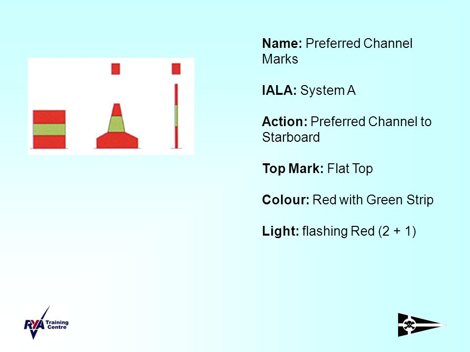 Name: Preferred Channel Marks IALA: System A Action: Preferred Channel to Starboard Top Mark: Flat Top Colour: Red with Green Strip Light: flashing Re