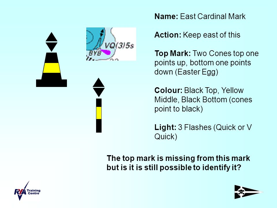 Name: East Cardinal Mark Action: Keep east of this Top Mark: Two Cones top one points up, bottom one points down (Easter Egg) Colour: Black Top, Yello