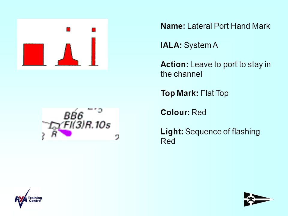 Name: Lateral Port Hand Mark IALA: System A Action: Leave to port to stay in the channel Top Mark: Flat Top Colour: Red Light: Sequence of flashing Re