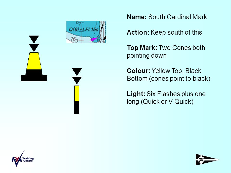 Name: South Cardinal Mark Action: Keep south of this Top Mark: Two Cones both pointing down Colour: Yellow Top, Black Bottom (cones point to black) Li