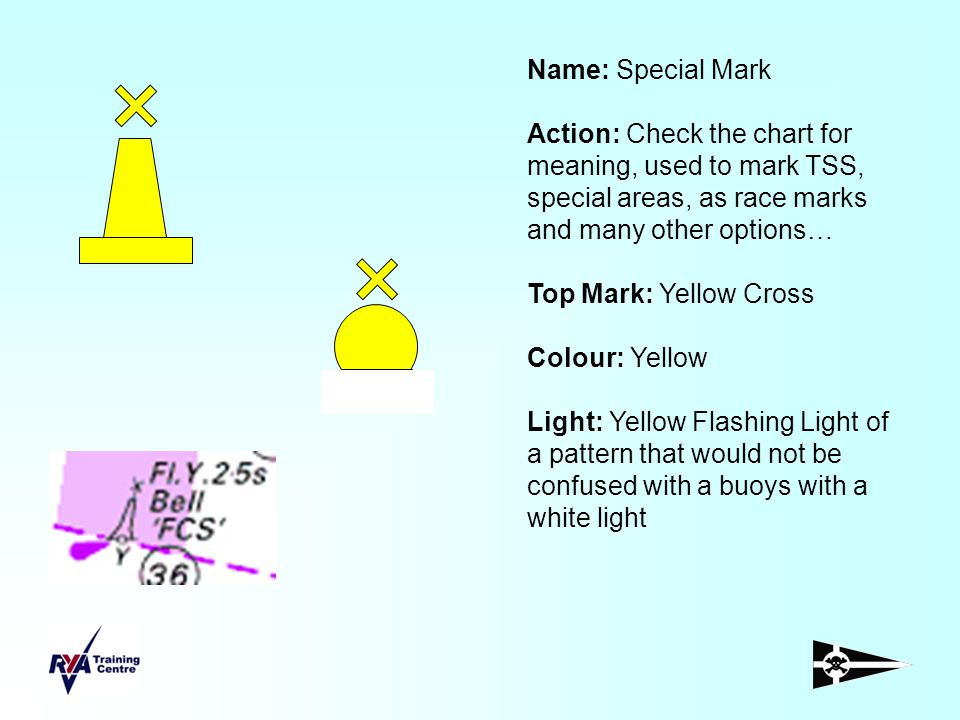 Name: Special Mark Action: Check the chart for meaning, used to mark TSS, special areas, as race marks and many other options… Top Mark: Yellow Cross