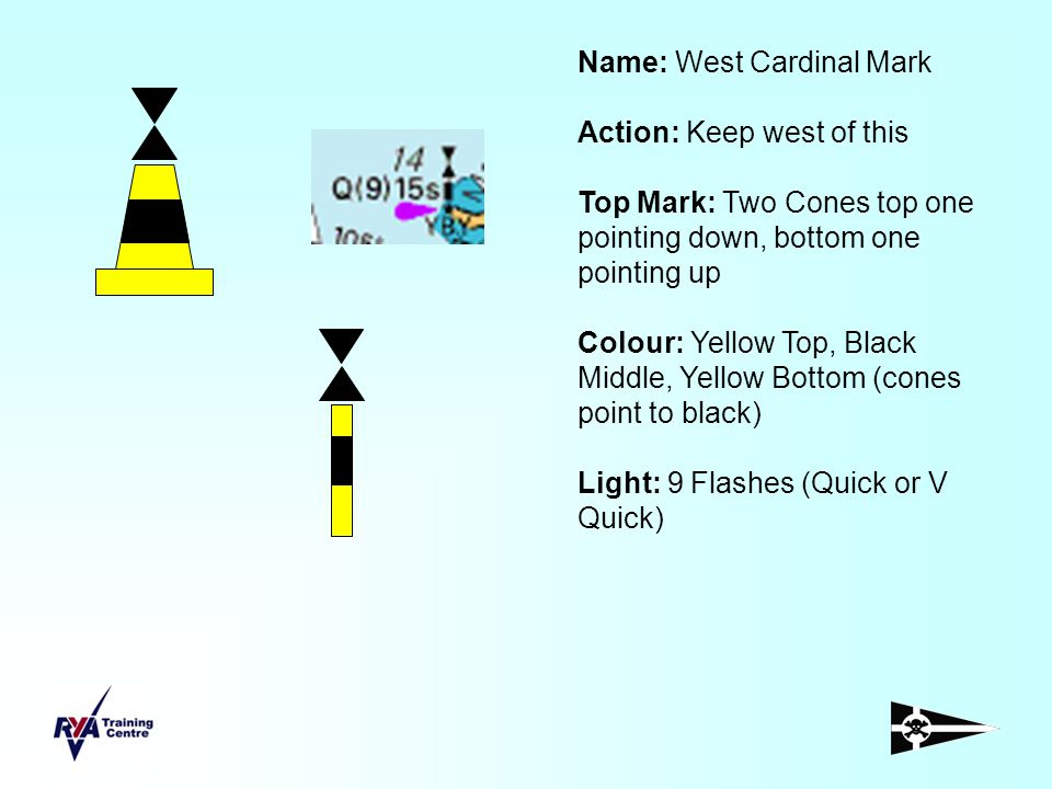 Name: West Cardinal Mark Action: Keep west of this Top Mark: Two Cones top one pointing down, bottom one pointing up Colour: Yellow Top, Black Middle,