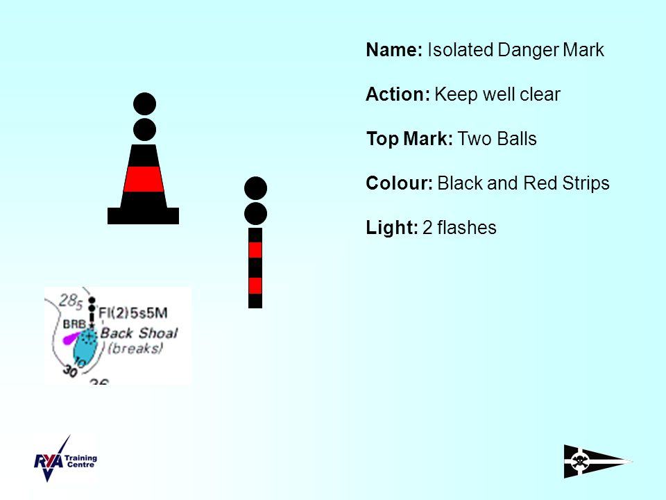 Name: Isolated Danger Mark Action: Keep well clear Top Mark: Two Balls Colour: Black and Red Strips Light: 2 flashes