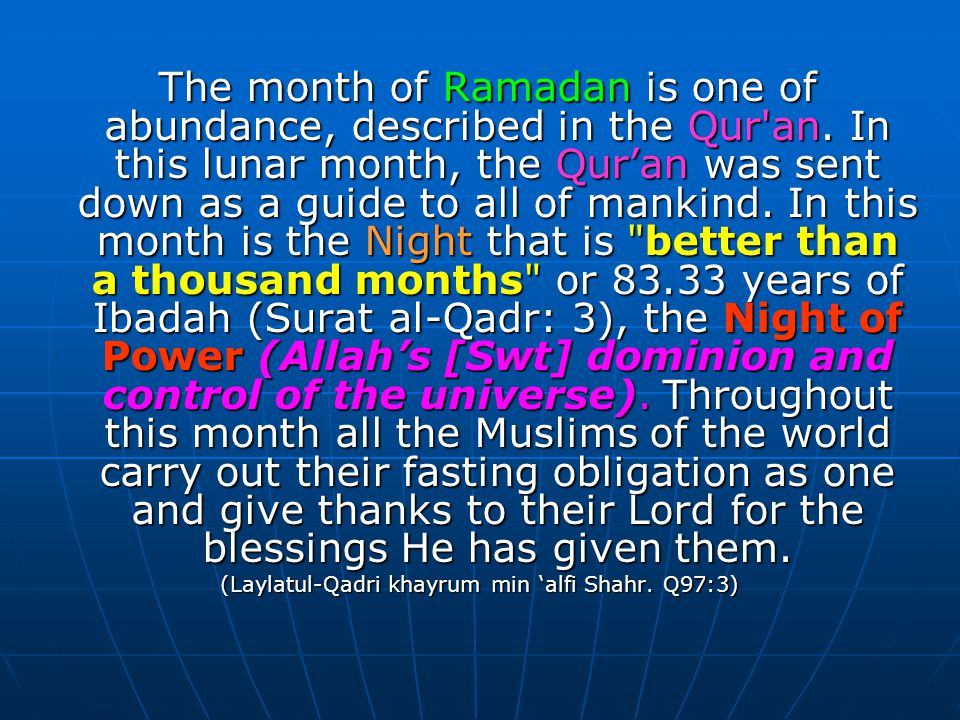 Allah reveals the obligatory nature of fasting in Surat al-Baqara: O You who believe.